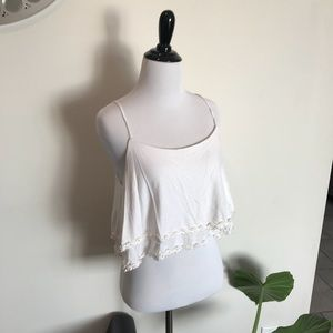 Anthropologie E (Hanger) M Layered Daisy Crop Top